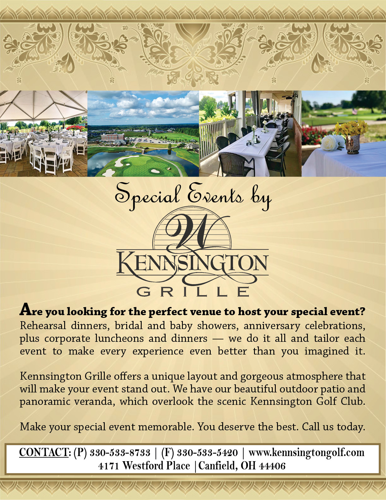 2018 KENNSINGTON GRILLE SPECIAL EVENTS cover final