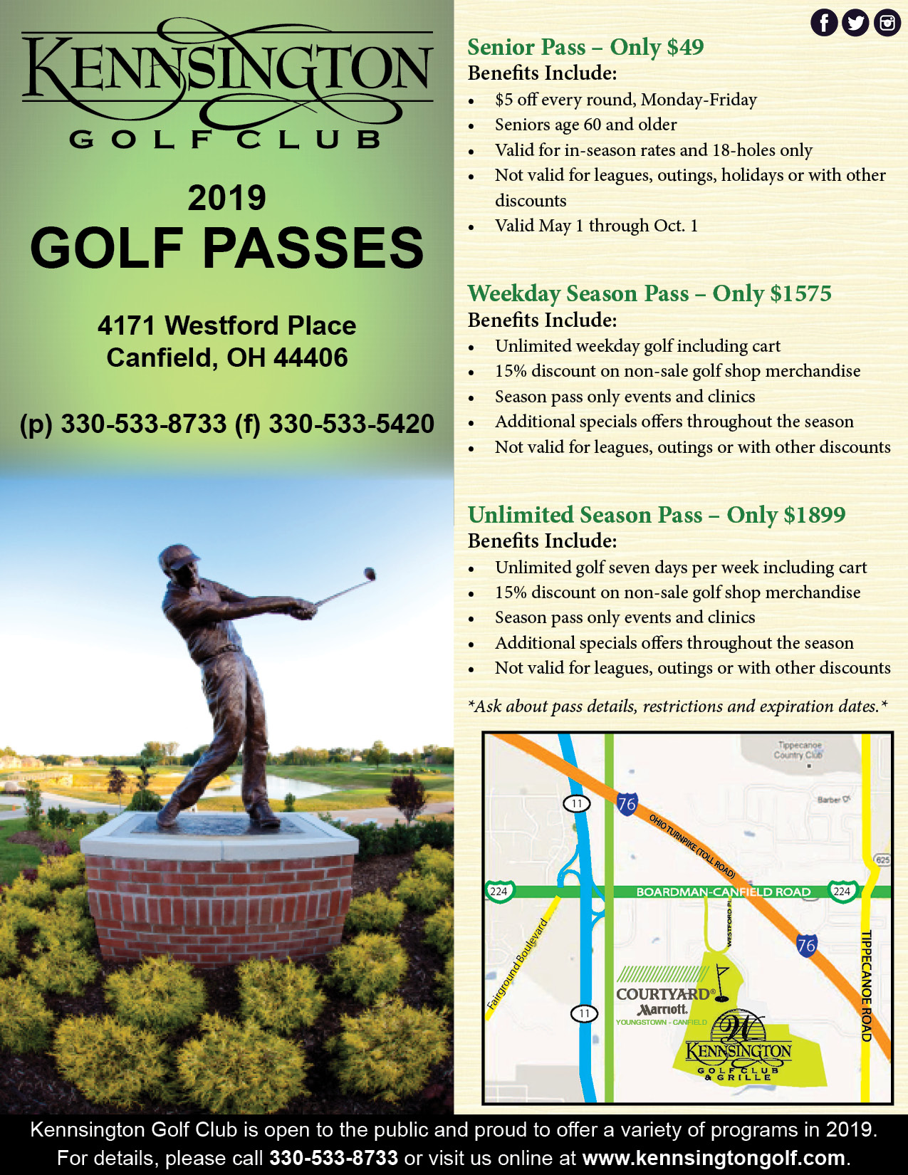 2019 Kennsingon Golf Passes Flyer